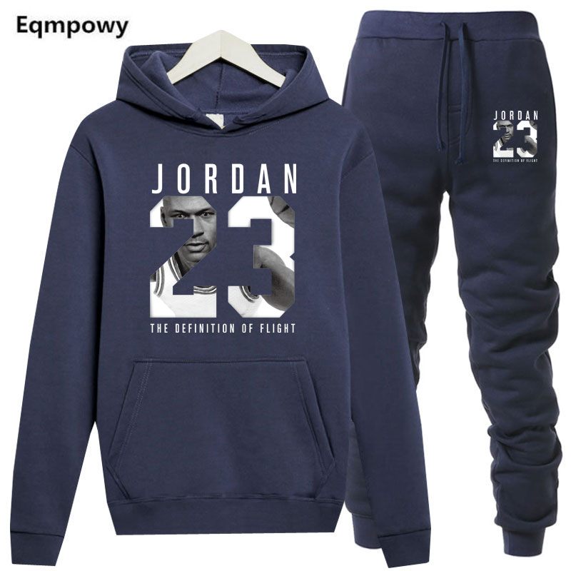 New 2019 Model Tracksuit Vogue Jordan 23 Males Sportswear Two Piece Units All Cotton Fleece Thick Hoodie+Pants Sporting Go well with Male