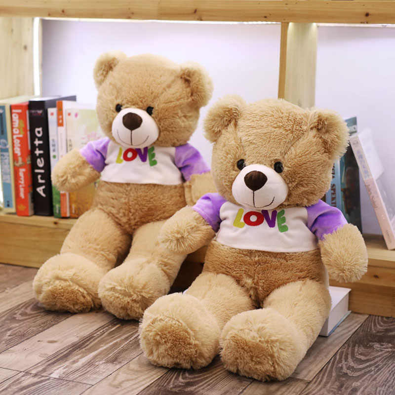 Amor T-shirt Vestida Teddy Bear Roupa Roxa Luz Marrom Ursos de Pelúcia Macia Presente de Aniversário para Crianças Dormir Companion Plushie 65cm