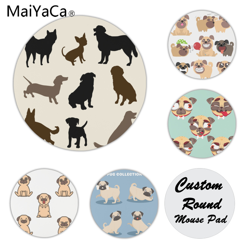 MaiYaCa New Arrivals Cute pug mouse pad gamer play mats Size for 200x200x2mm and 220x220x2mm Small Mousepad