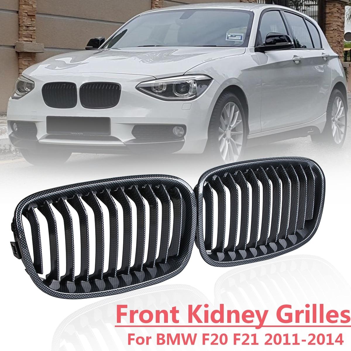 1 Pair Front Bumper Racing Grill for BMW F20 F21 114i 116i Hatchback 2011 2012 2013 2014 Carbon Fiber Kidney Grill Grilles 2pcs front grille bumper hood grill grilles automobile front kidney grille for bmw 1 series f20 2012 2014 glossy black