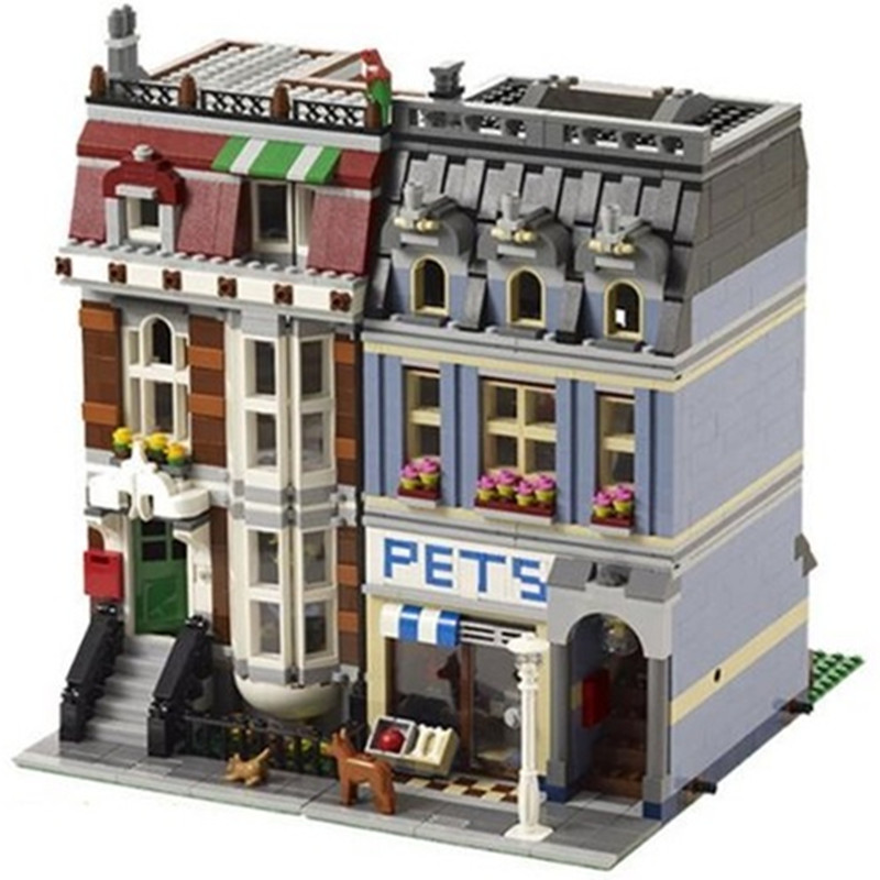 New City Street Creator Pet Shop Model Building Kit Blocks Bricks Toys Compatible with 10218 for Children Holiday Birthday Gifts 1681pcs assembly blocks burj khalifa tower model toy diamond bricks kids gifts birthday present compatible creator 16 16 45cm