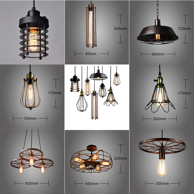 Vintage Loft LED Pendant Lights Black Metal Hanging Pendant Light Retro Cafe Luminaires Industrial Decor Lighting Fixtures Avize