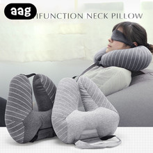 цена на AAG Portable U shape Travel Pillow with Cap Multi function Soft Hooded Pillow Home Airplane Car Travel Nap Neck Headrest Pillow
