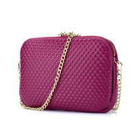 Sweet Lady Fashion Chain Bag Obliquely Across The Small Baotou Layer Of Leather Embossed Peach Lady