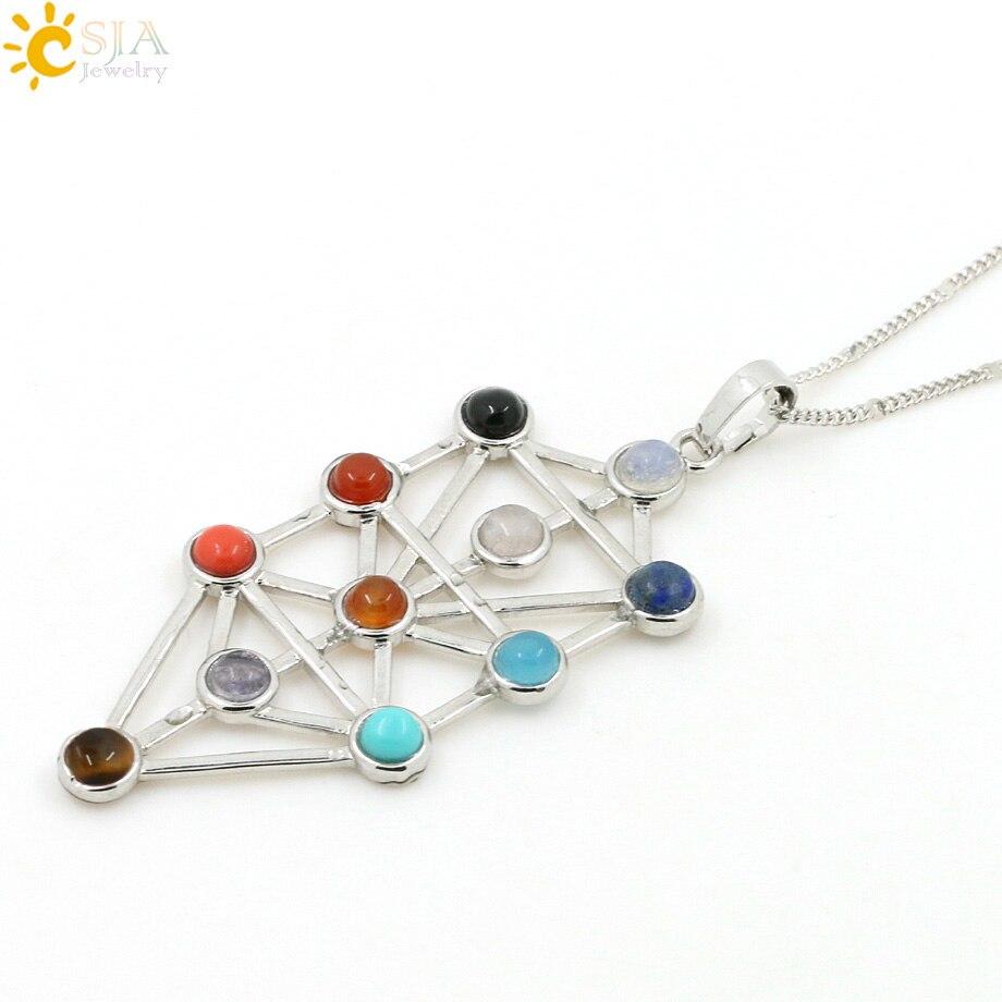 CSJA 2016 Simbol Amulet 7 Chakra Pyramid Healing Point Dowsing 11 - Bizhuteri të modës - Foto 4