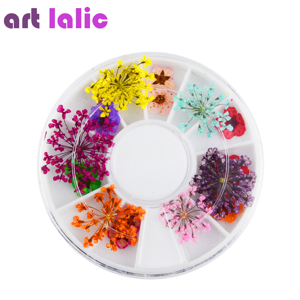 Art lalic 1 Box Mixed Dried Flower 3D Nail Decoration Wheel DIY Preserved Flower Manicure Nail Art Decorations