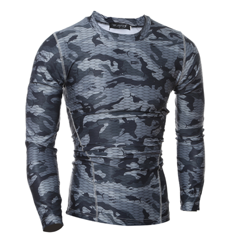 2017 Compression Shirt Long Sleeves Tshirt Compression Shirt font b Fitness b font Clothing Camouflage Colorquick