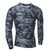 2017 Compression Shirt Long Sleeves Tshirt Compression Shirt Fitness Clothing Camouflage Colorquick Dry Bodybuild Crossfit XXL