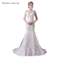 Elegant Ivory and Champagne Mermaid Applique Lace Wedding Dresses 2017 Women Long Organza Bridal Gowns vestido de noiva A028