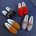 Winter thick wool plus velvet women casual shoes Moccasins dipper shoes small thermal cotton-padded mother shoes