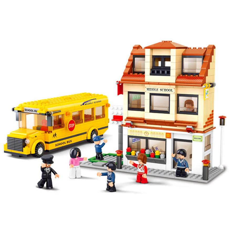 496Pcs Yellow City School Bus Model Building Block Toys Sluban 0333 DIY Educational Figure Gift For Children Compatible Legoe joy joytown j25590 city football field model building block 251pcs diy educational toys for children compatible legoe