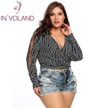 IN'VOLAND Women Chiffon Blouse Blusas Tops Plus Size Sexy Deep V-Neck Long Lantern Sleeve Striped Wrap Party Tees shirt 4XL