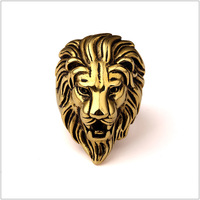 Mens Top Quality 316L Stainless Steel Gold Leo Lion King Face Head Band Ring Size 7-12 Hip Hop Jewelry