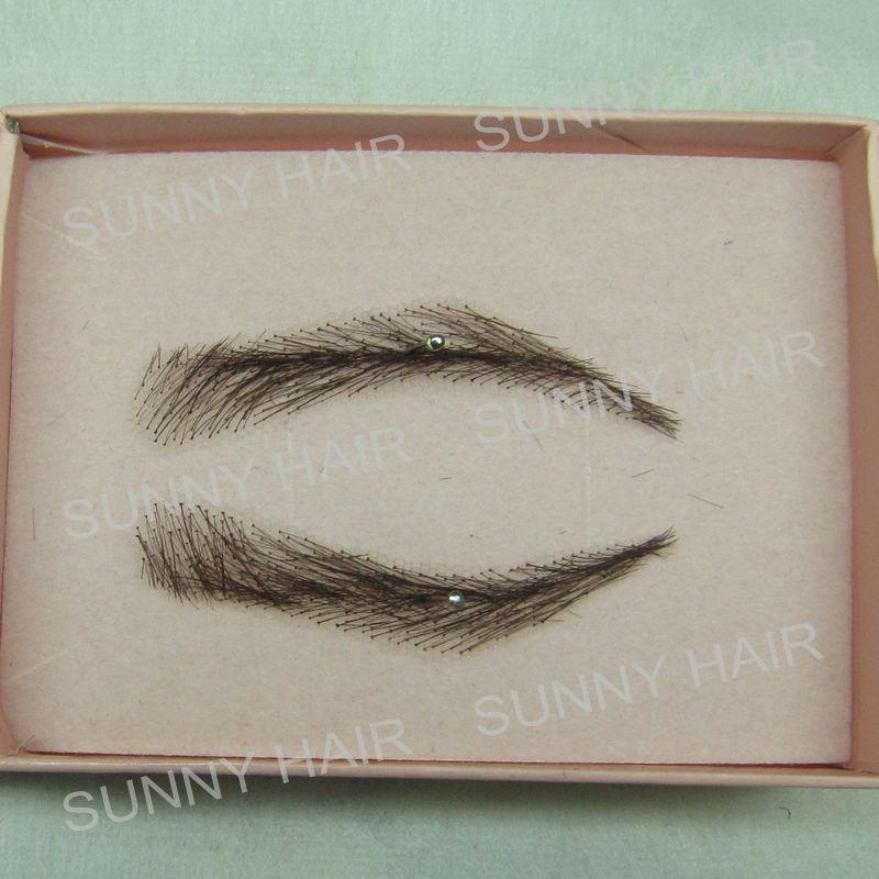 hand made human hair false eyebrow 015 black color hand knot fake eyebrow