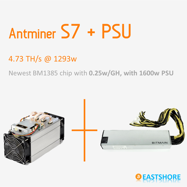 [SOLD OUT] Bitcoin Miner Antminer S7 4.73TH Asic Miner 4730GH Newest Btc Miner Better Than Antminer S5 With PSU