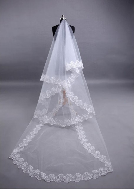 Long Lace Wedding Veil Veu De Noiva Longo Luxury 1 Layer Weddin Accessories Tulle Veil For Bride 2015 Cheap