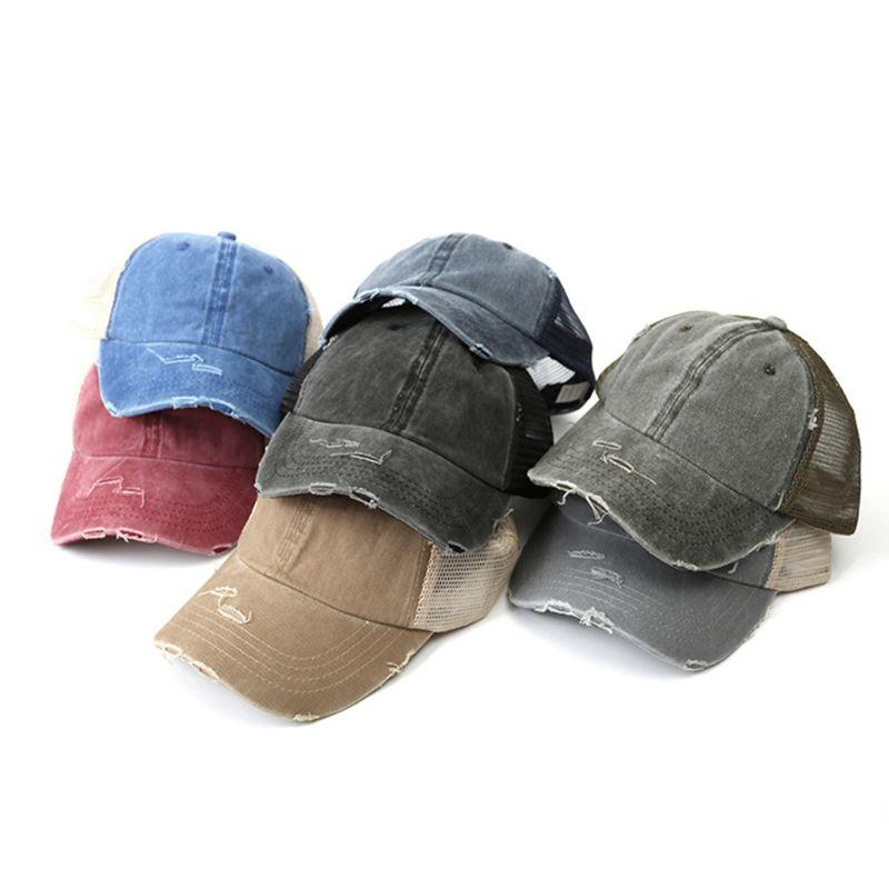 Womens Summer Ponytail Messy Bun   Baseball     Cap   Vintage Washed Color Breathable Mesh Back Adjustable Snapback Distressed Sun Hat