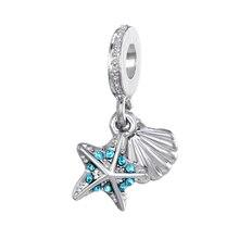 HOMOD 2019 Sliver Beads  Fits PandoraCute Starfish Blue Crystal Fit Original Brand Bracelets DIY Charms цена