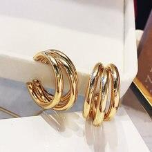 Moda za brincos de gota de metal de ouro para as mulheres do punk de vapor grande design redondo declaração brincos brincos jóias geométricas