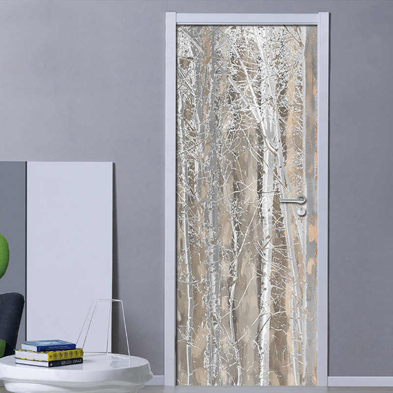 3D Door Mural Wallpaper Plain Texture Wood Nordic Style Fresco Bedroom Room Door Sticker Home Decor Poster Photo Wall paper PVC