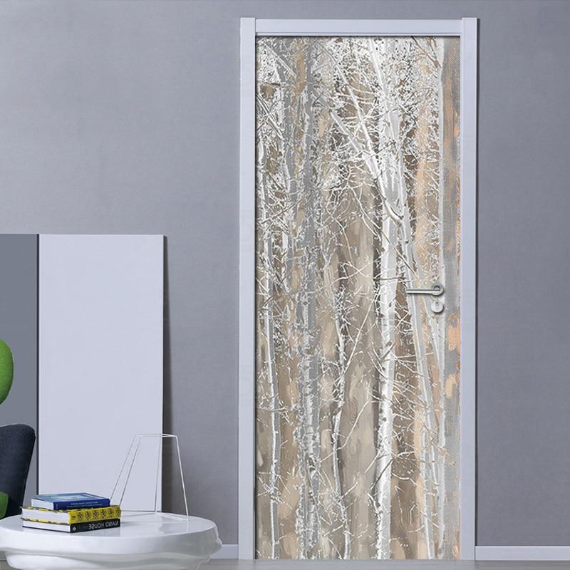 3D Door Mural Wallpaper Plain Texture Wood Nordic Style Fresco Bedroom Room Door Sticker Home Decor Poster Photo Wall paper PVC