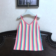 Condole belt vest female rainbow stripe color matching ice silk cool sleeveless clothes