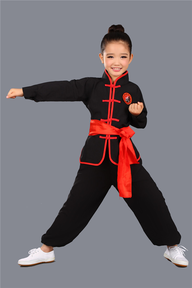 Children's martial arts clothing martial arts girls boys Kung Fu Tai Chi long sleeved children's performance Fu Qingcang