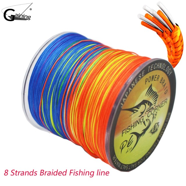 Gaining 8 Strands Braided Fishing Line 500m MultiColor Super Strong Japan Multifilament Fishing Line 10LB 30LB 40LB 850LB 200LB