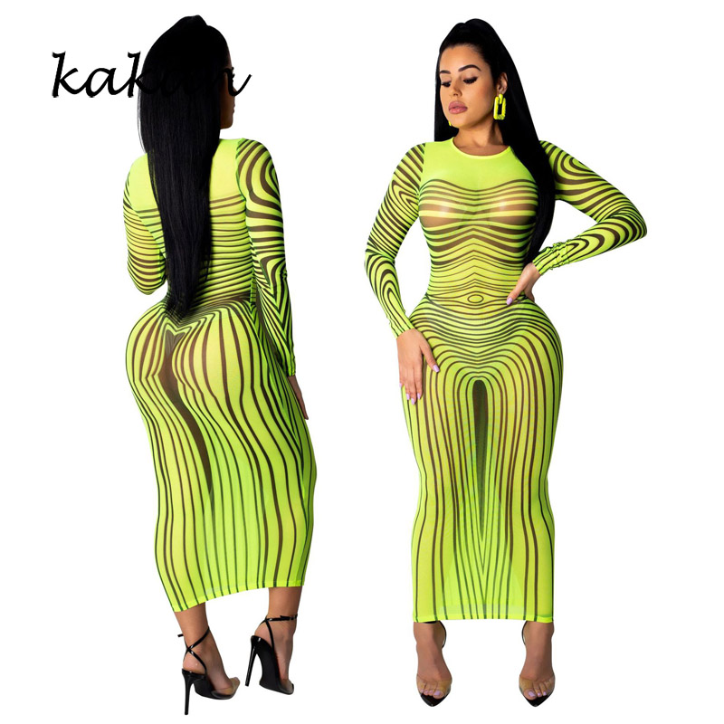 Женское Сетчатое платье с принтом Kakan, супер эластичное платье зеленого, розового, красного и синего цветов