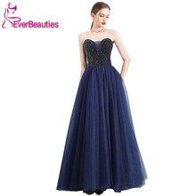 Navy Blue Prom Dresses Long 2019 Tulle Beaded Sweetheart Formal Party Gowns Vestidos De Festa Dress For