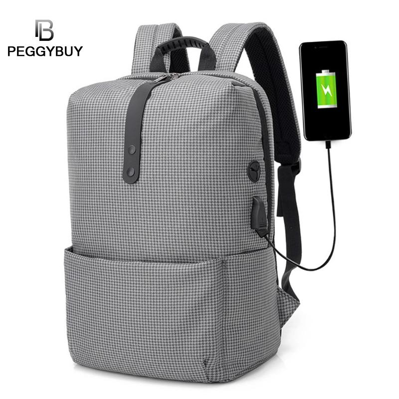 Fashion Canvas Laptop Backpacks Men Zipper Anti-Theft USB Charging Schoolbags Teenage Casual Travel Shoulder Backpack