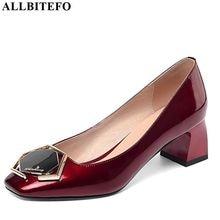 Allbitefo 라인 석 펌프 정품 가죽 여성 발 뒤꿈치 패션 사무실 숙녀 높은 두꺼운 뒤꿈치 신발 봄 가을 하이힐