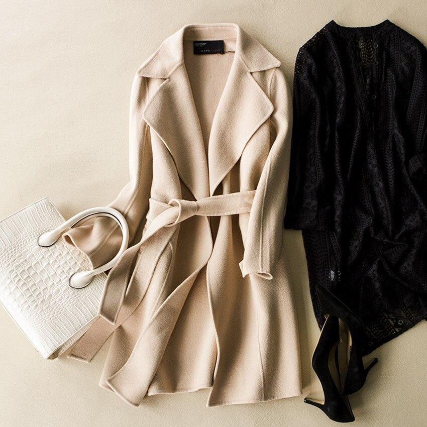 Aliexpress.com : Buy Pink Wool Blends Wool Women Coat Grey Belted ...