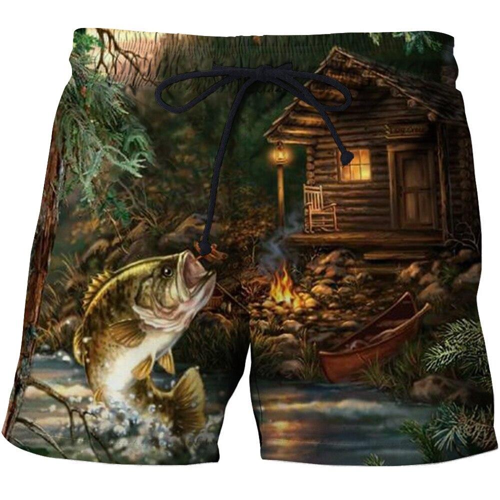 Private custom Beach pants Quick Dry Running Swimwear 3D Fish Printed Beach Shorts Bermuda Swim Sports Shorts dropshipping