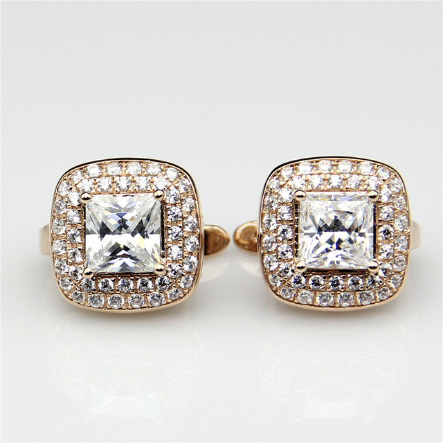 Lasamero Princess Halo Moissanites 2 6ct Earrings Studs 9k Rose Gold Pair Lab Grown Diamond Stud