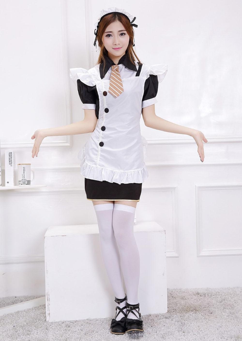 Ensen Maid kostym med förkläde Lolita klänning Japansk skola - Maskeradkläder och utklädnad