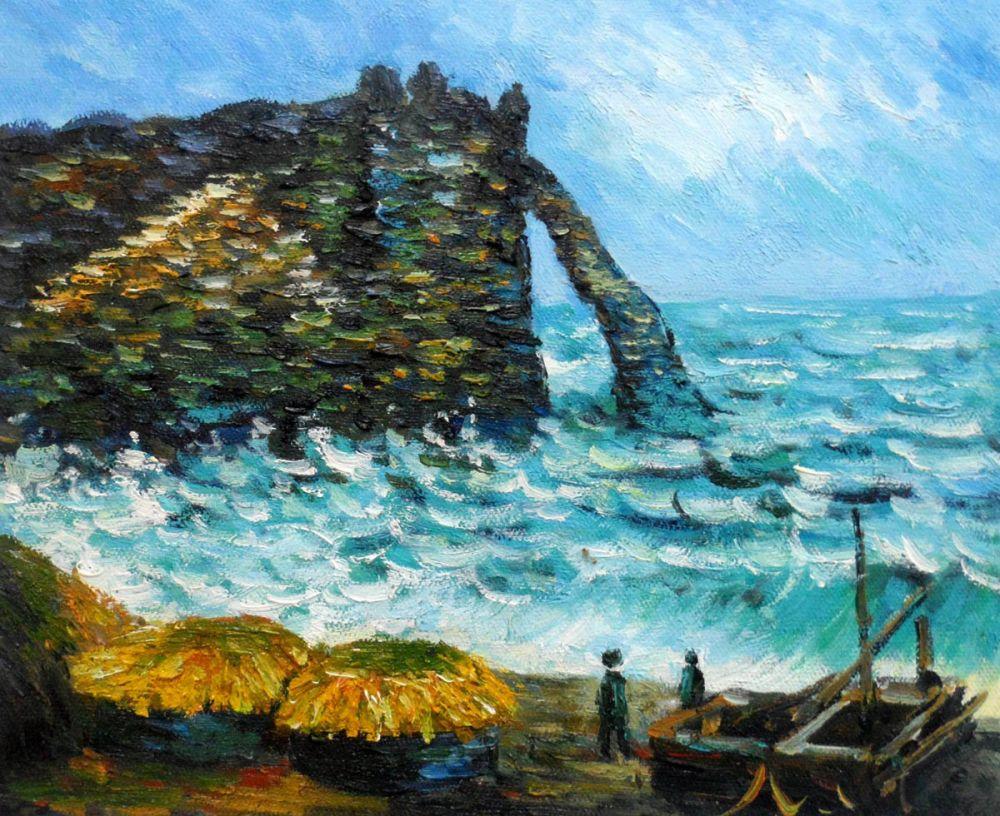 Haute qualité, Claude Monet paysage marin peinture, mer agitée à Etretat, paysage huile sur toile, mur Art décoratif