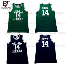 5bb5fc754494 BONJEAN Bel Air Academy Basketball Jerseys  14 Will Smith Jersey Green  Black Color Stitched Hip