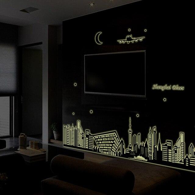 Dark Living Room At Night oriental pearl shanghai blues night scene diy luminous wall