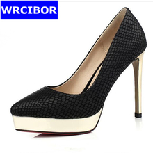 Size 33-40 NEW 2017 Women Shoes Genuine leather pointed toe High-heeled shoes Platform Metal Decoration Sexy Thin heels Pumps