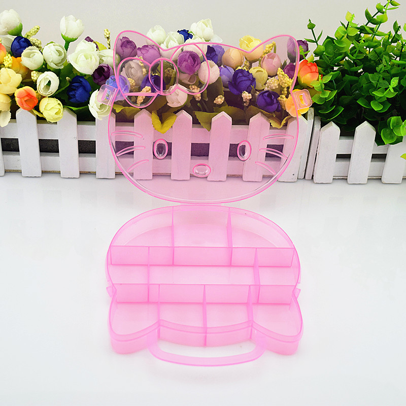 Hello Kitty Storage Box Case Holder Clear Pink Color Plastic Adjustable  Jewelry Necklace Pin Craft Organizer