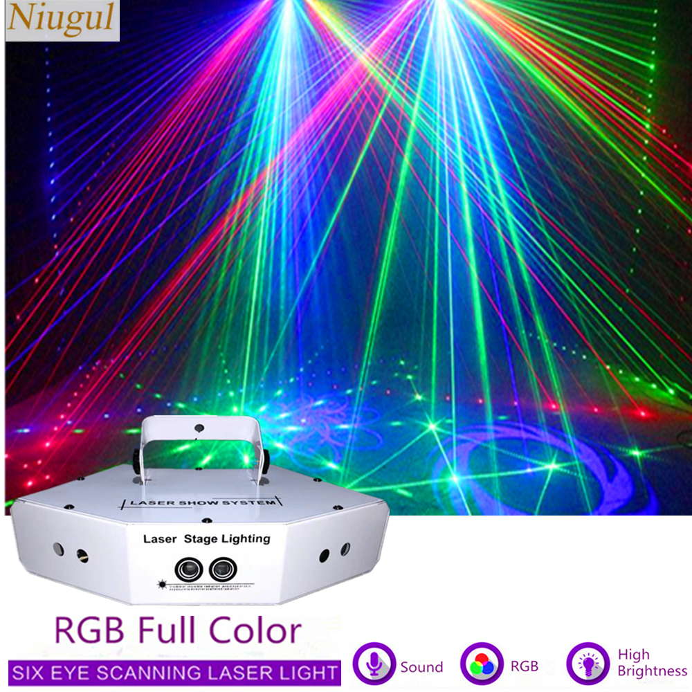 6 Lens Disco Scan Laser Light RGB Full Color Beam Light DJ Effect Projector Scanner Laser Stage Lighting Laser Show System
