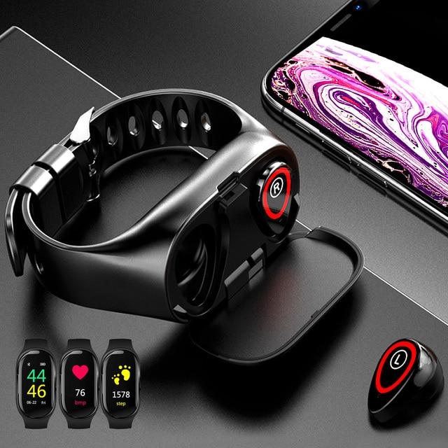 TWS Bluetooth 5,0 наушники, беспроводные наушники для телефона, Смарт часы с монитором сердечного ритма, настоящие Беспроводные стереонаушники, спортивные наушники