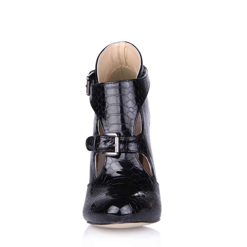 Chmile Châu Đen Da Rắn Gợi Cảm Đảng Giày Nữ Đế Giày Cao Gót Kéo Khóa Nữ Mắt Cá Chân Giày Zapatos Mujer Plus Kích Thước 0640CBT-R1