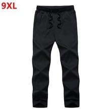 Летние однотонные мужские брюки размера плюс, специальные большие тонкие летние длинные штаны из хлопка 9XL 8XL 7XL 6XL 5XL