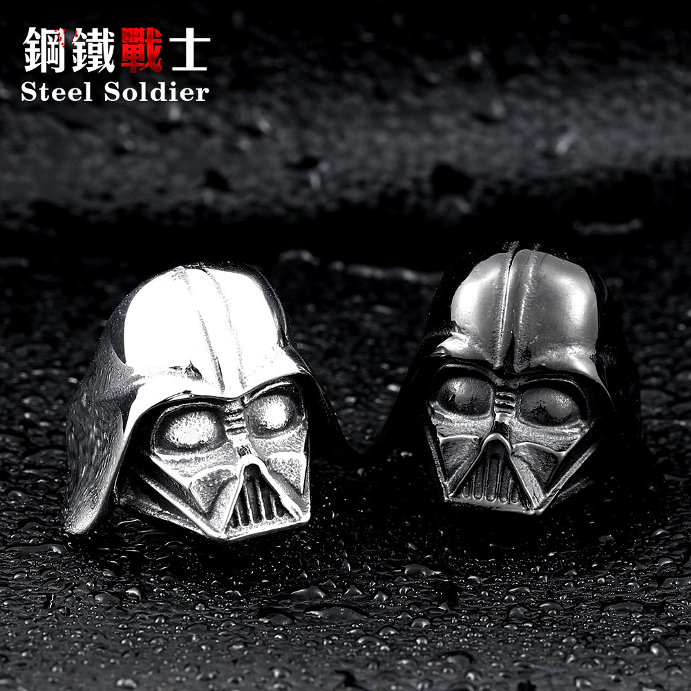 steel soldier Star Wars Darth Vader mask shape ring Jewelry High Quality 316L STAINLESS Steel BR8-202 US size 7-13 la palmyre zoo