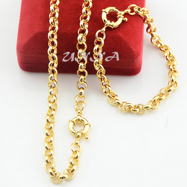 6mm Set Jewelry Classic Gold Color Filled Rolo Necklace Set