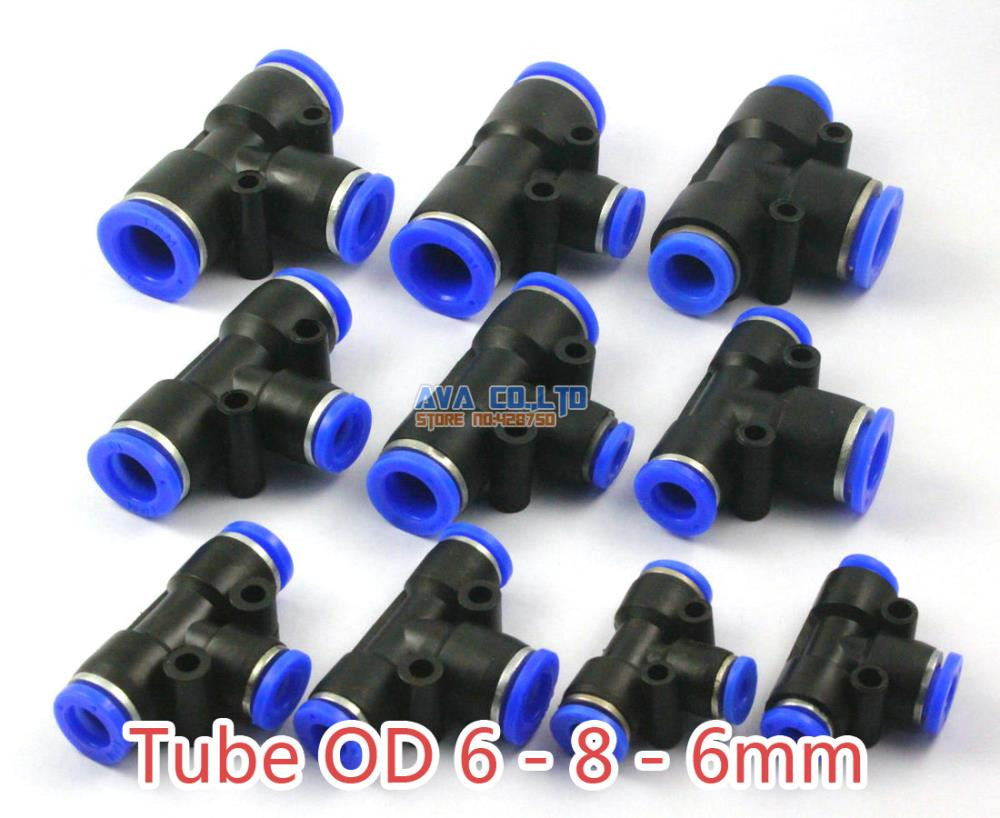 20 Pieces Pneumatic Tee Reduced Union Tube OD 6 - 8 - 6mm Air Push In To Connect Fitting One Touch Quick Release Fitting black 12mm push in one touch pneumatic quick fitting