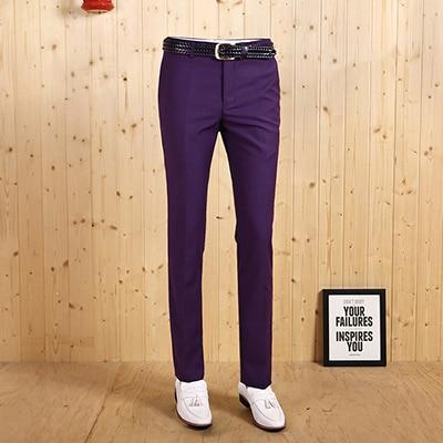 Высокое качество Демисезонный Смарт Повседневное Для мужчин деловой, Свадебный, для жениха, длинные штаны, комплект для отдыха из застежка-молния Стройный брэндовый костюм - Цвет: purple