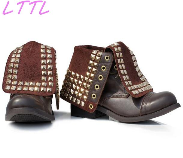 2017 Hottest Studs Cover Women Lace Up Ankle Boots Round Toe Ladies High Quality Motorcycle Boots Low Heel Boots 2015 hottest drop shipping vintage round toe strappy zip knee high boots studs chunky heel leather boots women high heels j459